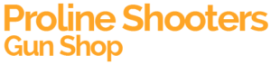 orange proline shooter gun shop logo